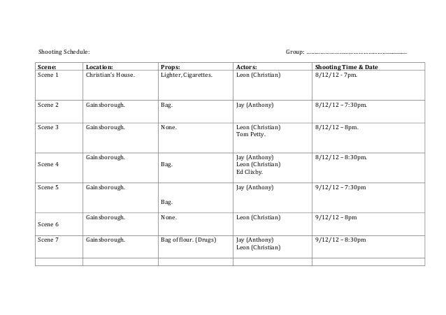 Shooting Schedule: Group: ……………………………………………...............Sce ...
