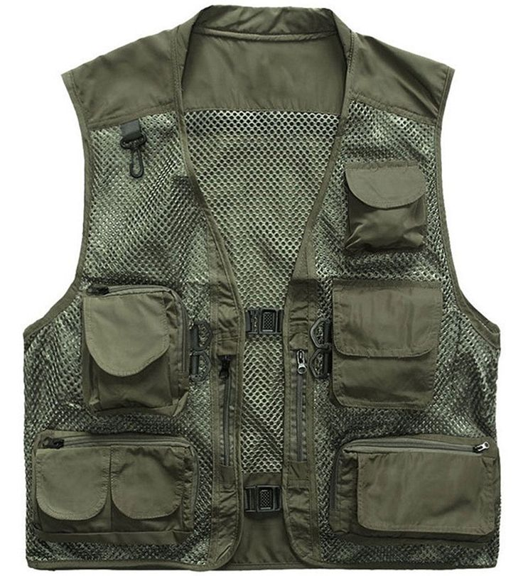 ZSHOW Men's Mesh Fishing Vest Multi Pockets Photography Outdoor Jacket * You can get more details by clicking on the image.