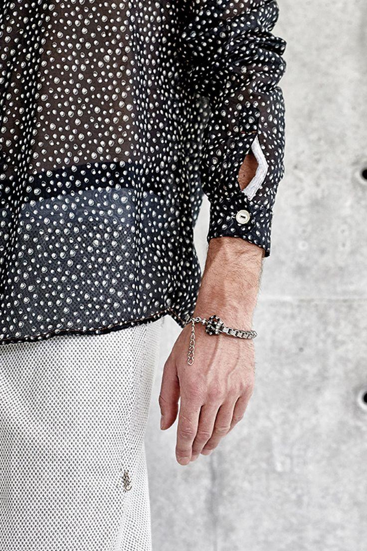 #danieladallavalle #mancollection #riccardocavaletti #ss16 #shirt #black #white #pois #grey #pants #bracelets #steel #crown #details