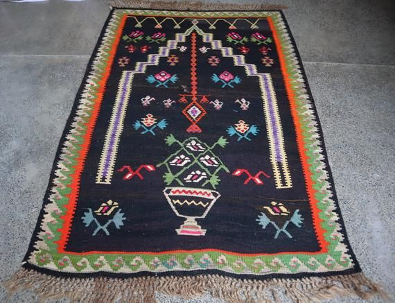Stunning Anatolian Turkish Prayer Rug,Beautiful Flat Woven Fine Quality Turkish Anatolian kilim Rug,
