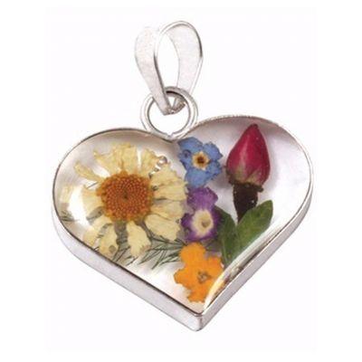 Jewellery :: .925 Silver :: Wildflower heart pendant - $32