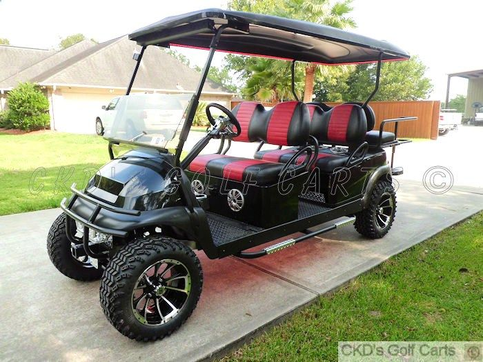 Custom lifted 2012 Club Car Precedent 6 passenger electric golf cart, by CKDs Golf Carts