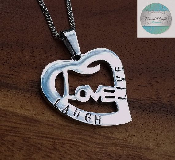 Hand Stamped Names Necklace. Silver Love Love by CoorabellCrafts