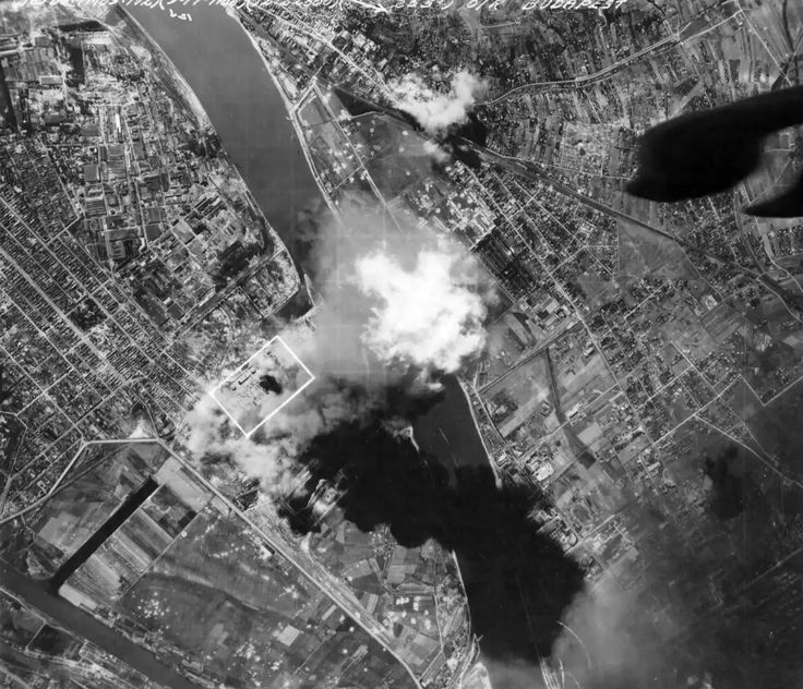 B-24 Liberator was bombing Csepel (Budapest, Hungary)