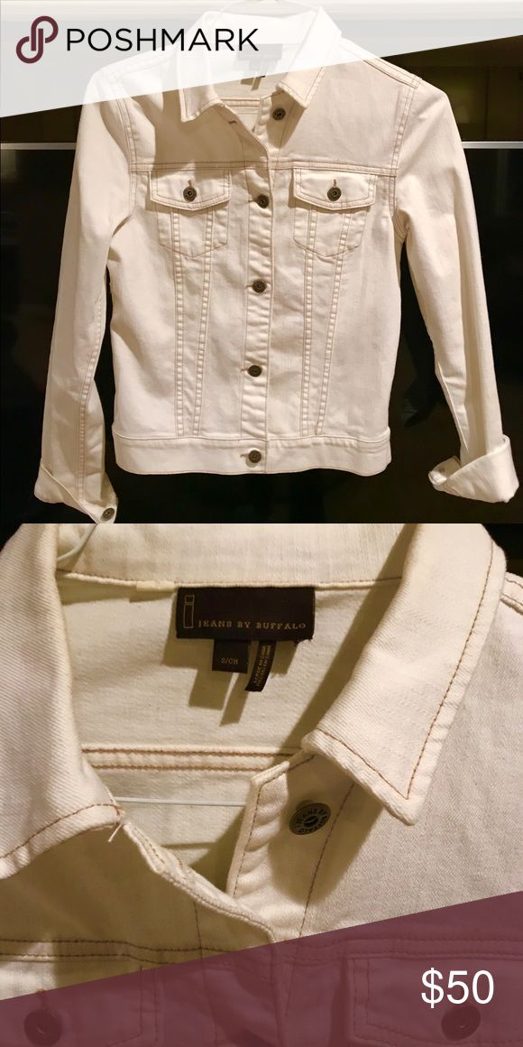 Buffalo jeans jean jacket! Cream jean jacket with light brown stitching. So cute over a dress or ANY outfit! Worn a couple times. i jeans by Buffalo Jackets & Coats Jean Jackets