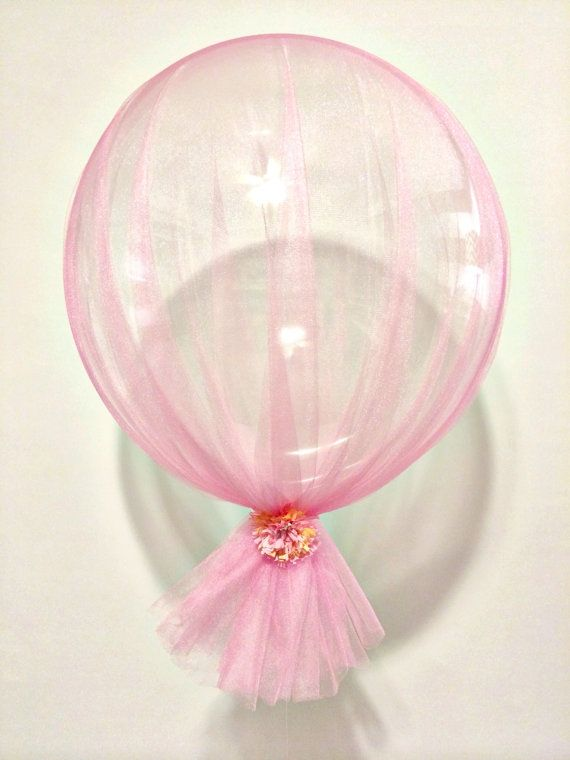 Pink tulle peach flower wedding clear balloon by StephShivesStudio
