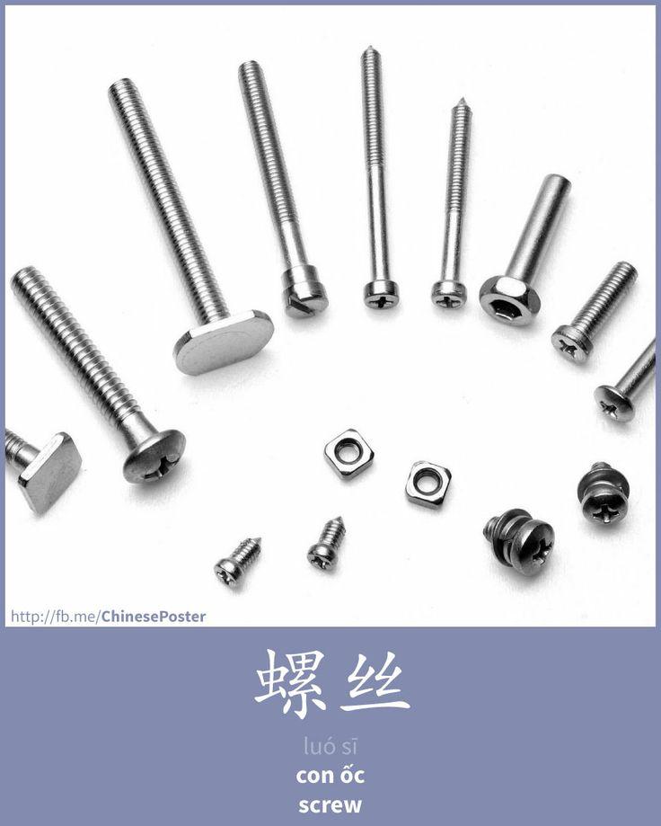 Learn Chinese : 螺丝 - luó sī - con ốc - screw