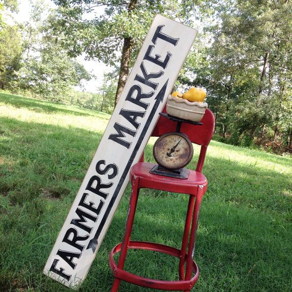FARMERS MARKET Sign 7x47 Handmade Sign Vintage Farmhouse Chic Country Chic Distressed Kitchen Dining Room Shabby Wall Hanging