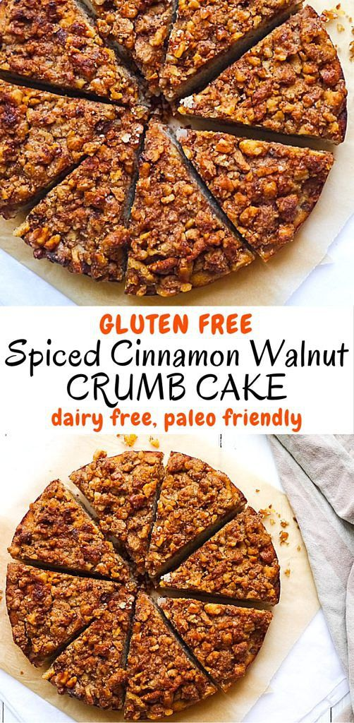 This grain free spiced cinnamon walnut crumb cake is made with healthy high fibre coconut flour. Dairy free and with the most delicious crumb topping! Recipe via nourisheveryday.com