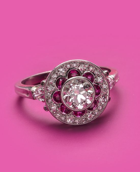 Vintage ruby & diamond love! Shop ruby rings for Valentine's Day from Trumpet & Horn!