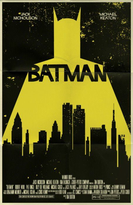 Batman - movie poster. The typeface feels to friendly for Batman, but I like the overall concept