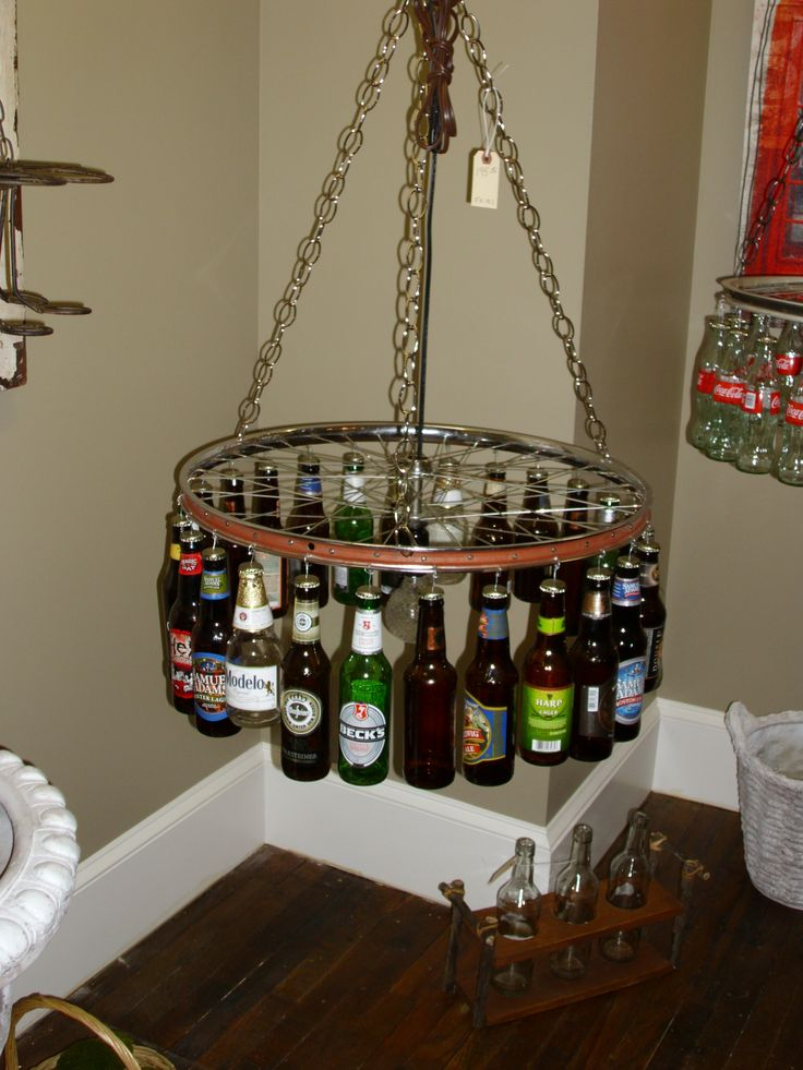Unique Beer Bottle Light With Recycled Bicycle Rim And Metal Chain Make Your Own Pendant Plus Homemade Lights Charming Wine