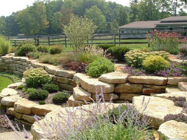 Landscaping A Sunny Hillside : Hillside garden sunny landscape flowers