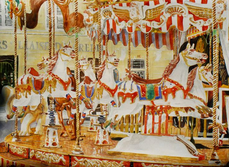 "carousel horses arles provence 22"" x 30""  micheal zarowsky / watercolour on arches paper / (private collection)"