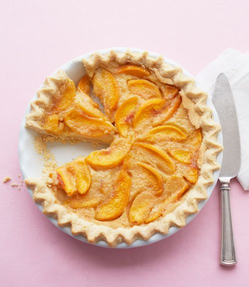 """Grammys Peach Custard Pie Recipe - Delish.com  For this pie's silky custard, trade cream for butter and eggs in the filling. """"Melt-in-your-mouth delicious,"""""""