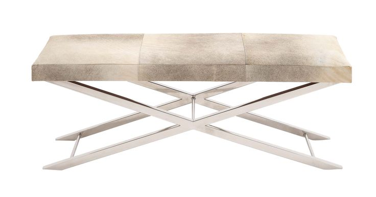 The Simple And Stylish Stainless Steel Grey Leather Bench