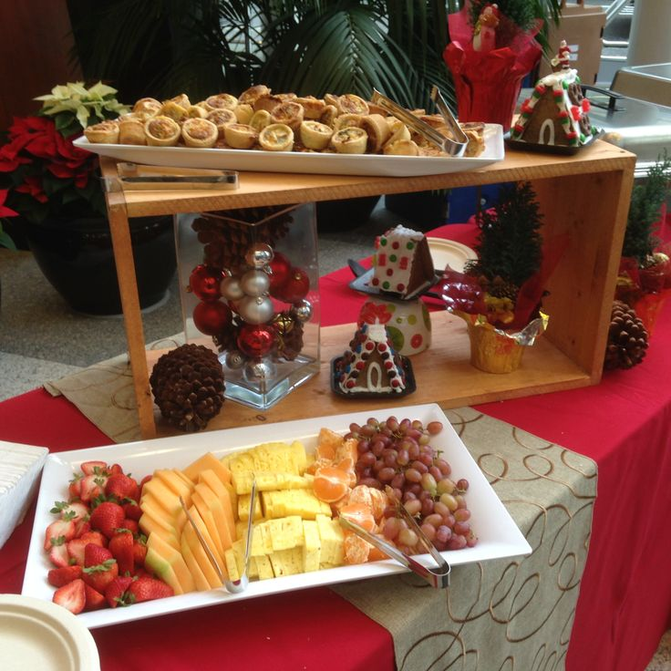 Christmas Bruch Buffet featuring House Made mini Seafood Quiche & Fresh Fruit. www.pacificcoastcateringgroup.com