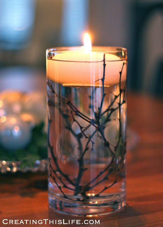 Floating candle with twigs