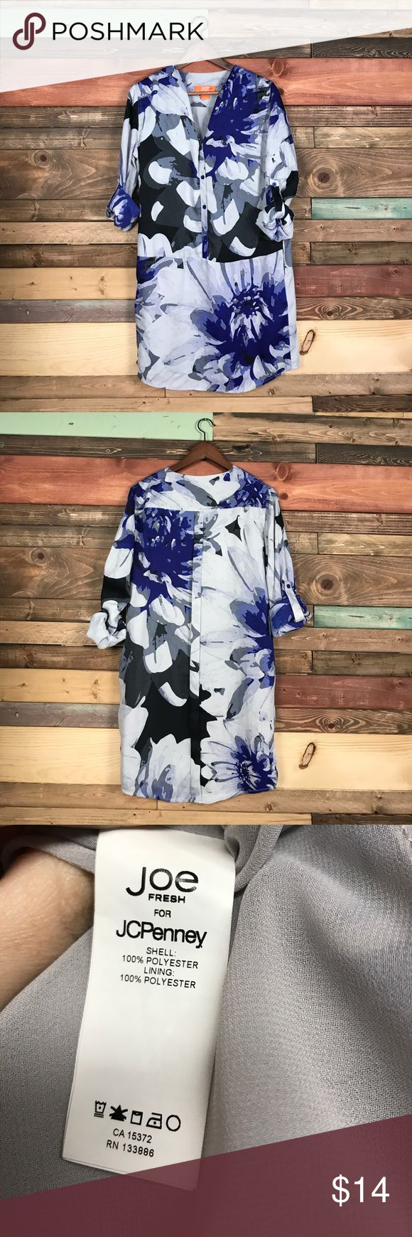 "Joe Fresh Grey Blue Floral Roll Tab Shirt Dress XS Joe Fresh Grey Blue Floral Roll Tab Shirt Dress XS // Bust: 19"" // Waist: 18"" laying flat // Length: 35"" // Bundle your likes and make an offer for best deals @woodsnap! Joe Fresh Dresses"