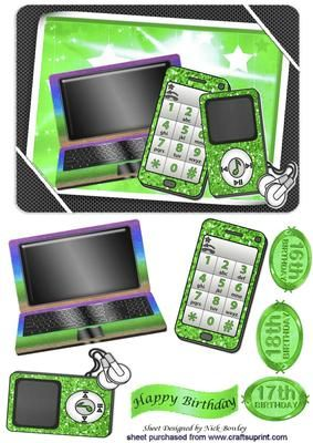 Girls Green gadgets mobile laptop mp3 player on Craftsuprint - Add To Basket!