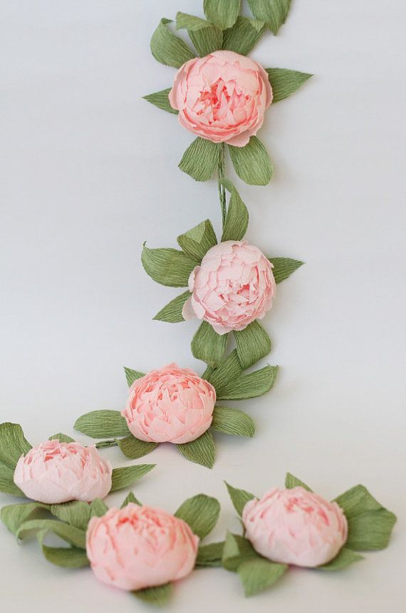Bridal garland wedding garland paper flower garland peonies paper flower party garland paper flower decor  NOTE!!! ITS CRAZY BUSY SEASON NOW! SO DONT BUY ANYTHING BEFORE CONTACTING ME AND CLARIFYING SHIPPING TERMS!  THIS LISTING is for 1,5 meter paper garland (its near 59 inches, 9 peonies with leaves, diameter of each flower is near 3-3,5 inches). Made from high quality crepe paper. Every flower made by me with love!  NOTE - ask me before buying if you need rush order!  CUSTOM ORDERS ARE…