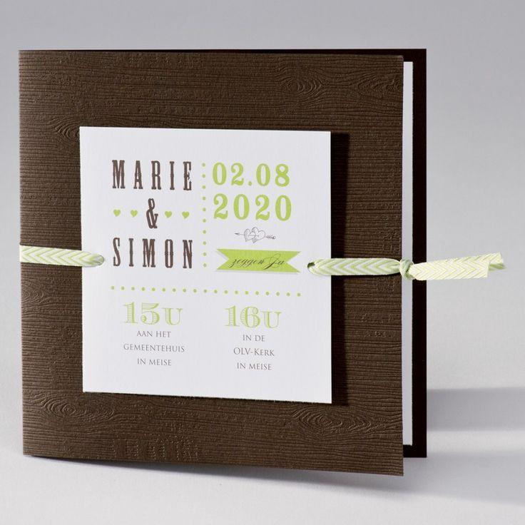 Bruine trouwkaart met groene touch