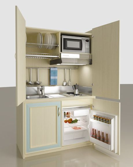 This would work in a tiny kitchen  monobloc-kitchen-mobilspazio-contract-hinged-door.jpg