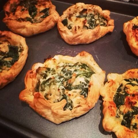 Home grown organic spinach and feta parcels.