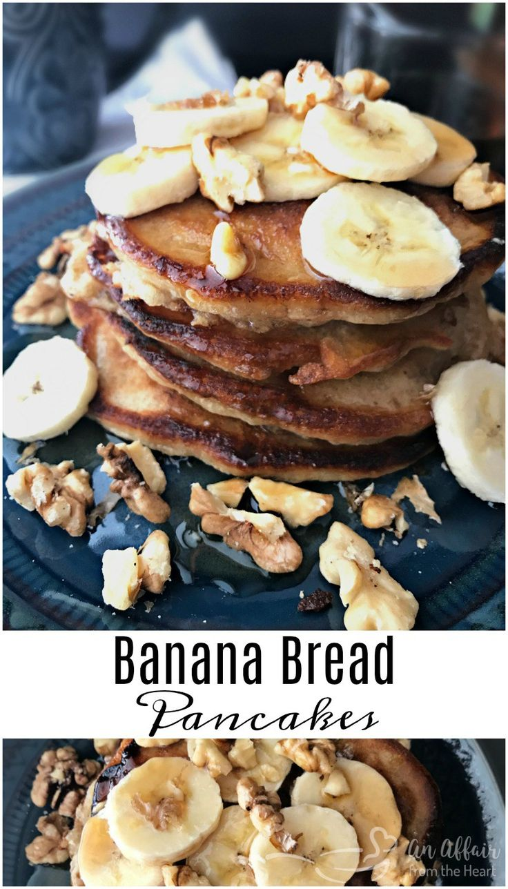 Banana Bread Pancakes - An Affair from the Heart -- These gourmet looking pancakes are simply made .  Begin with Bisquick mix, add in ripe bananas and a few spices and you have this scrumptious stack of pancakes. #Pancakes #banana #bananabread