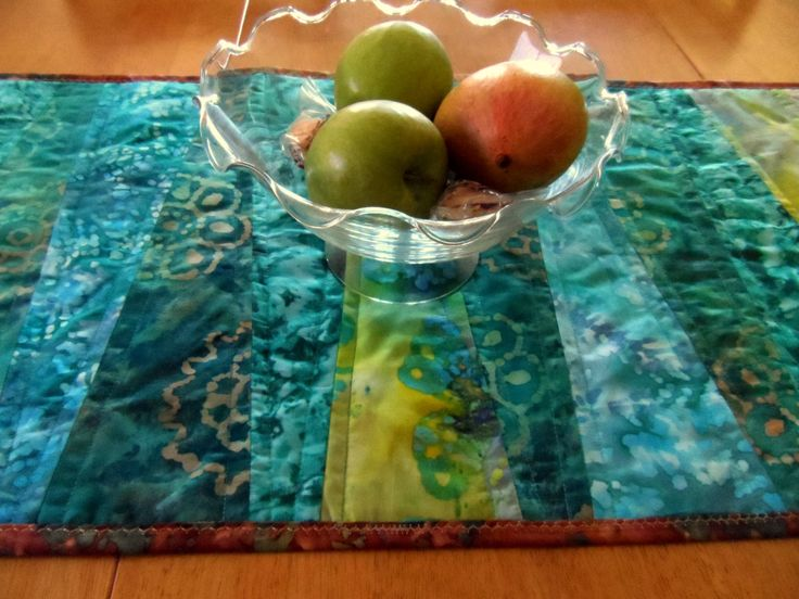 Modern table runner, aqua, teal, tan, brown, batik fabrics, quilted table runner, contemporary, table quilt, table topper, quiltsy handmade by…