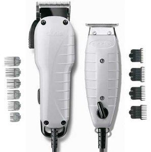 """Andis Barber Combo-Powerful Clipper and Trimmer Kit, High Speed Whisper Quiet Magnetic Motors with Ergonomic Design, Clipper has Adjustable Blade with 6 Comb Attachments Size 1/8""""-1"""", T-Blade Outliner Trimmer Features 4 Comb Attachments Size 1/16""""-3/8"""" Andis http://www.amazon.com/dp/B00G1KPRPG/ref=cm_sw_r_pi_dp_lYd1wb1YWXA7S"""