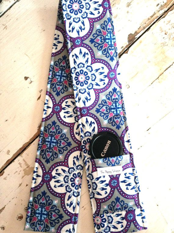 Camera Strap Cover with Lens Cap Pocket- Grey and Purple