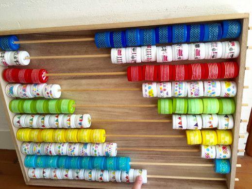 こんにちは大阪うえまち片づけ×知育お片づけアカデミー あらき かよですペットボトルのキャップをリメイクして100玉そろばんを作りました!