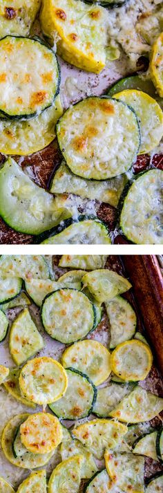 Parmesan Crusted Zucchini and Yellow Squash from The Food Charlatan. Do you have zucchini growing out your ears? This crispy parmesan-crusted squash recipe is possibly the easiest summer side dish of all time, and a great way to use up garden veggies! I have a hard time not eating the entire batch single-handedly.