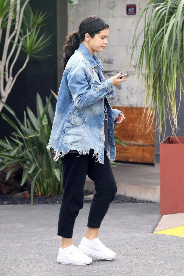 half off 16a78 d72dd Selena Gomez wearing Puma Basket Trace Ostrich-Embossed ...