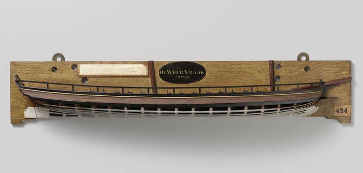 Anonymous   Halfmodel van een kanonneergalei van 3 stukken, Anonymous, c. 1799   Mallenmodel (stuurboord) van een tweemast platbodem. De huid boven het barkhout is gesloten. Het dek is gesloten met een geschutstelling op het voordek naast de fokkemast en één middenachter, en drie luiken; op het dolboord zijn veertien roeidollen aangebracht. Het voorschip heeft een lage scheg en daarboven een tweede scheg waarop de boegspriet rust. Gewrongen spiegel, hol wulf, gesloten hek met geschutpoort…