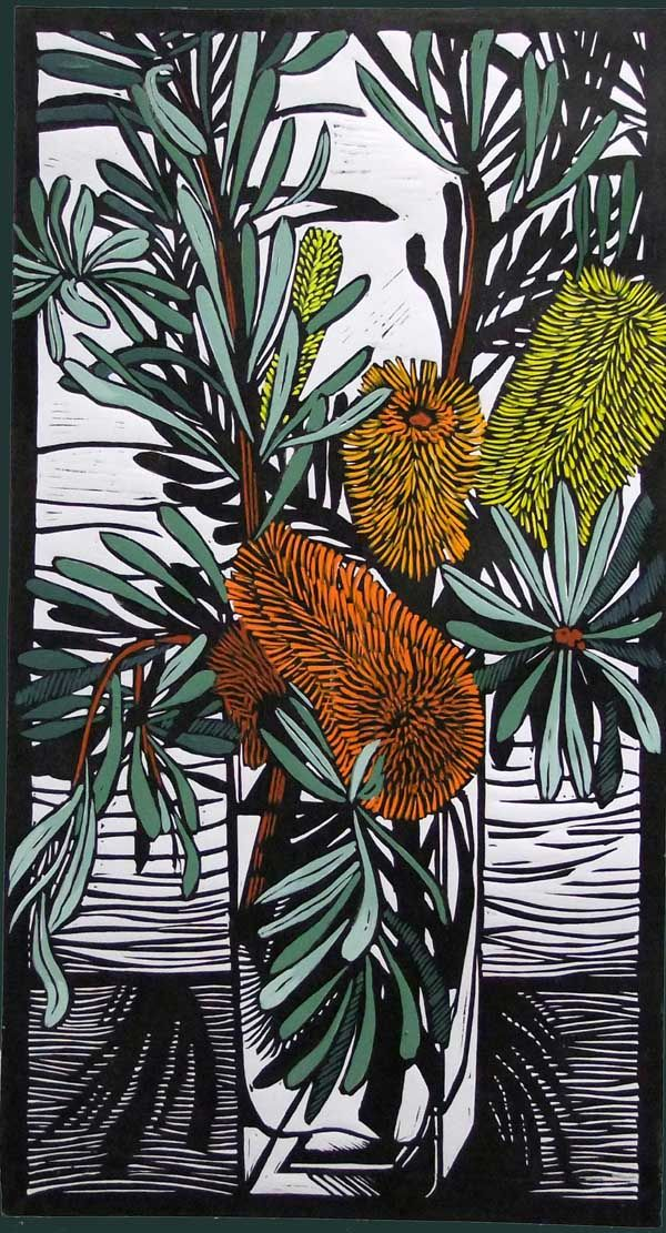 "Gail Kellett's linocut titled ""Banksia Marginata."" Intricate use of cutting tools."