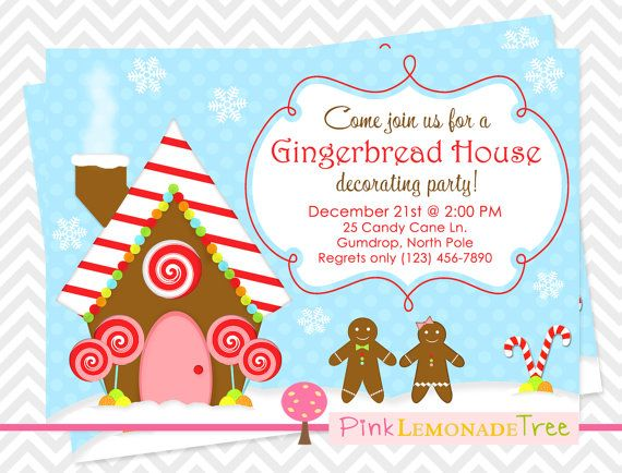 Gingerbread House Christmas Party Invitation Gingerbread Man – Gingerbread Party Invitations