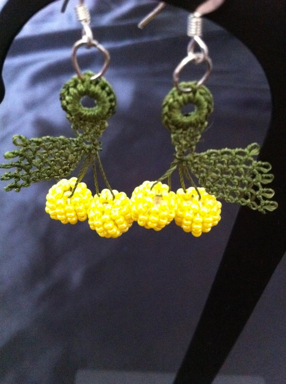 Needle lace Lemon Oya Earrings by CouchCrochetCrumbs on Etsy, $10.50
