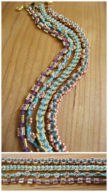DIY Cheap and Easy Embroidery Thread Bead Bracelet Tutorials...