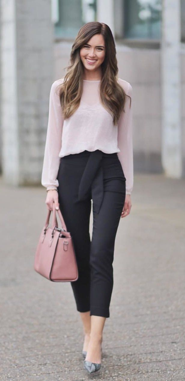 #winter #outfits white long-sleeved shirt; black pants. Click To Shop This Look.