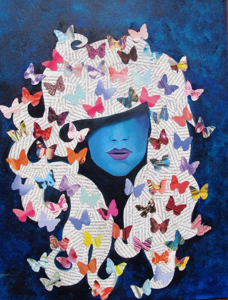collage, blue, portrait, acrylic