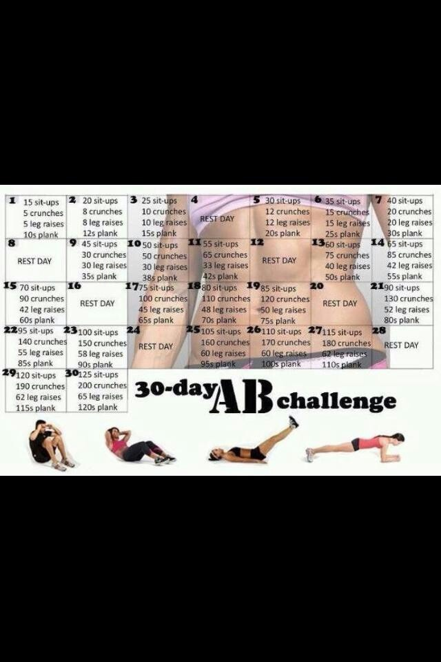 30 day ab challenge. My 30 day squat challenge went so well I think I need to try this one too!