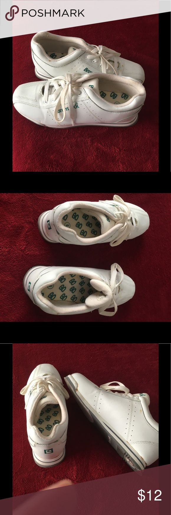 Brunswick bowling shoes! This is a pair of Brunswick bowling shoes, mostly white. In good condition but one of the shoes has the tongue is loose. I bought these new, only wore a few times. brunswick Shoes Sneakers