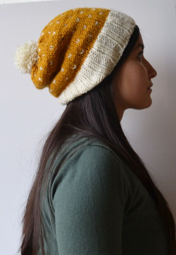 Pom-pom hat, pompom hat, knitted hat, hearts, gold hat, winter accessory, Christmas gift, gold, goldand cream