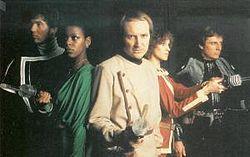 The Blake's 7 cast in series 3 (1980): Steven Pacey (Tarrant); Josette Simon (Dayna); Michael Keating (Vila); Jan Chappell (Cally) and Paul Darrow (Avon)