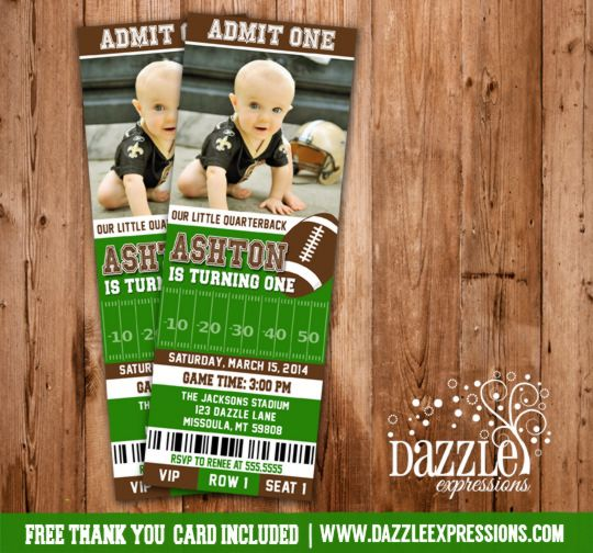 Printable Football Ticket Birthday Photo Invitation | Sports Ticket | Boy Birthday Party Idea | DIY | Digital File | 30th, 40th, 50th | FREE thank you card included | Matching Party Package Available! Banner | Cupcake Toppers | Favor Tag | Food and Drink Labels | Signs |  Candy Bar Wrapper | www.dazzleexpressions.com