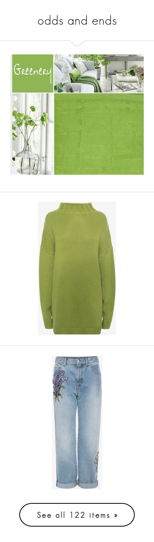 """""""odds and ends"""" by nanette-253 ❤ liked on Polyvore featuring tops, sweaters, leaf green, turtleneck sweater, cashmere sweater, oversized chunky knit sweater, oversized cashmere sweater, oversized green sweater, jeans and medium vintage wash"""