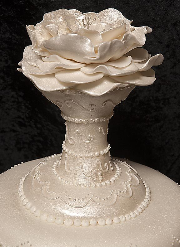 Floral Topper On Victorian Wedding Cake