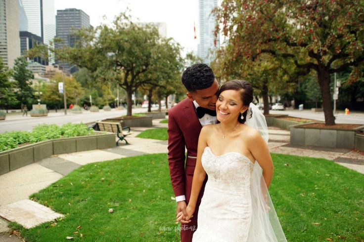 Crab apple trees on University Avenue. Toronto. Wedding photos